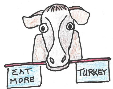 """Picture of cow holding sign """"eat more turkey"""""""