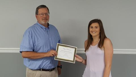 Picture of Mayor Gary Chandler awards the Plainview Scholarship for Academic Achievement to Skylar Bates