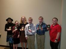 First Place Winners left to right: Meradeth Whitley (6th), Gracie Tindell (5th), Allyson Hanna (11th), Kaleb Hanna (9th), Travis Hanna (7th), and Hayston Henry (5th)