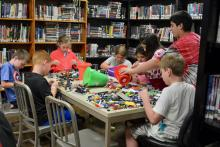 Kids build with Legos at Maynardville Public Library's Summer Reading.
