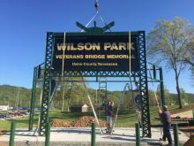 Veterans Bridge Memorial and new sign at Wilson Part.  A project spearheaded by Preservation Union County.