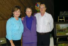 L to R:  Daughter Betty Bullen, Irene Hamilton and Son Robert Hamilton at her party.
