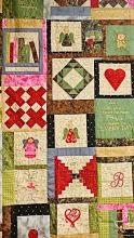 Quilt with various shapes on a patchwork design