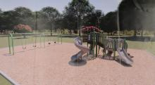 A rendering of new playground equipment for Wilson Park