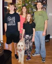 Photo by Barbara Helms; Left to Right, Eli, Denise, Kylie, and Eric Helms along with family dog Cocoa